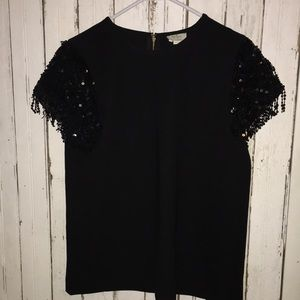 KATE SpADE ♠️ Sequin sleeve blouse top BlaCk sz 10